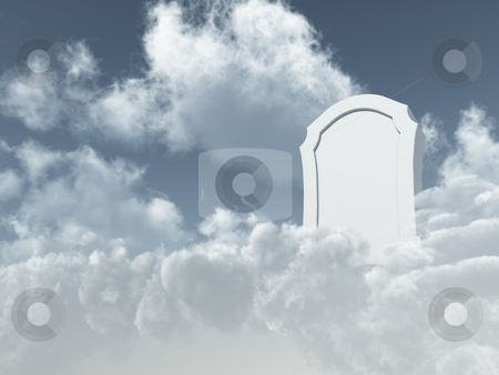 Heavenly grave stock photo, White grave stone in cloudy sky - 3d illustration by J?