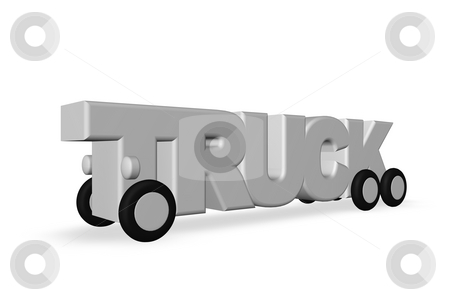 Truck stock photo, The word truck on wheels on white background - 3d illustration by J?