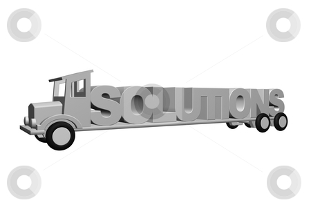 Solutions stock photo, The word solutions on an old truck - 3d illustration by J?