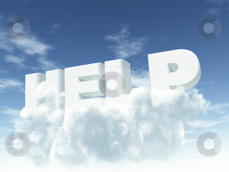 Help stock photo, The word help in cloudy sky - 3d illustration by J?