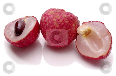 Lychees stock photo, Full, ripe Lychee fruit showing red peel, dark seed and translucent flesh. Shallow depth of field by Martin Darley