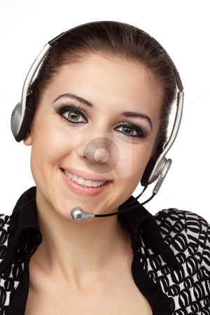 Cheerful customer service operator stock photo, Closeup of cheerful customer service operator with headset over white by Ivelin Radkov