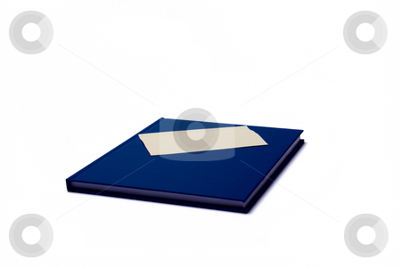 Notepad with sticker stock photo, Blue notepad with blank sticker on white background by Roman Kalashnikov