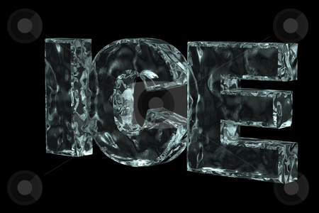 Ice stock photo, The word ice in ice on black background - 3d illustration by J?