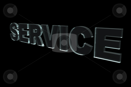 Service stock photo, The word service in glass on black background - 3d illustration by J?