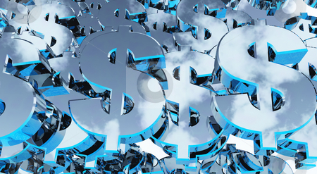 Dollars stock photo, Many metallic dollarsigns - background - 3d illustration by J?