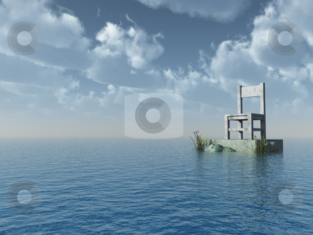View stock photo, Stone chair at the ocean - 3d illustration by J?