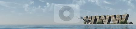 Www stock photo, Www rocks at ocean - 3d illustration banner by J?