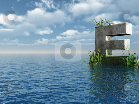 Letter E stock photo, Letter E rock in water landscape - 3d illustration by J?