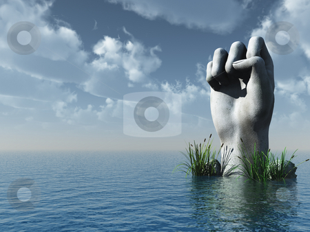 Fist stock photo, Stone fist at the ocean - 3d illustration by J?