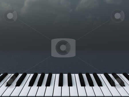 Piano stock photo, Piano keyboard and dark water landscape - 3d illustration by J?