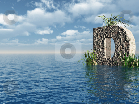 Letter D stock photo, Letter D rock in water landscape - 3d illustration by J?