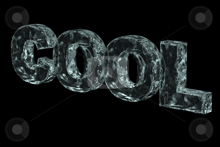 Cool stock photo, The word cool in ice on black background - 3d illustration by J?