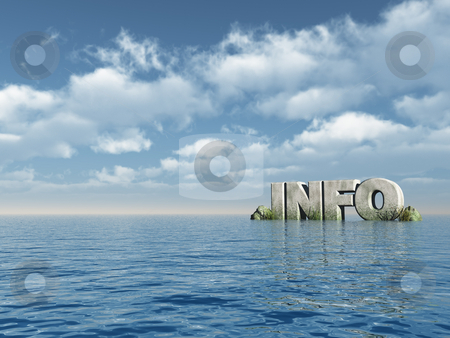 Info stock photo, The word info in stone at the ocean - 3d illustration by J?