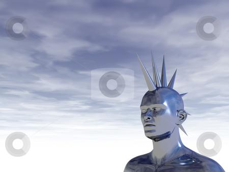 Mohawk stock photo, Chrome man figure in mohawk style - 3d illustration by J?