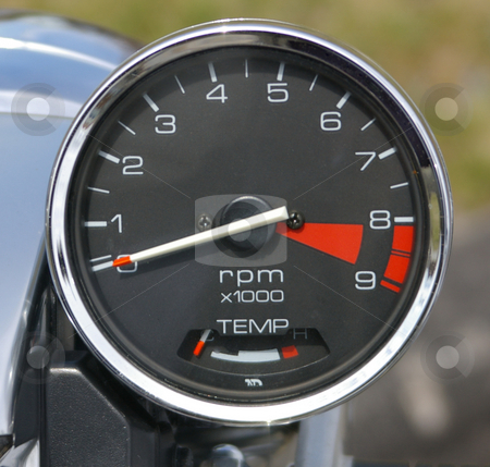 Motorcycle Gauge stock photo, A closeup of a motorcycle RPM gauge. by Tom Weatherhead