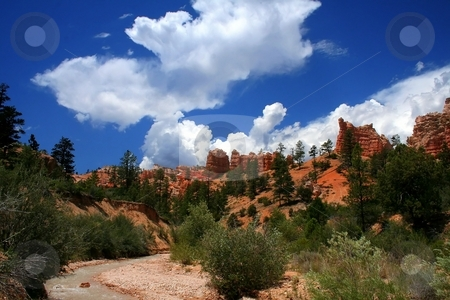 Red Rock Canyon stock photo, View of the red rock formations in Bryce Canyon National Park by Mark Smith