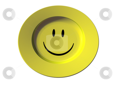 Smiley stock photo, Yellow dinner plate with smiley on white background - 3d illustration by J?