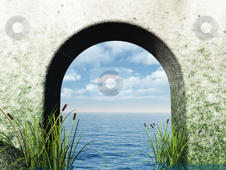 Gate stock photo, Gate to the ocean - 3d illustration by J?