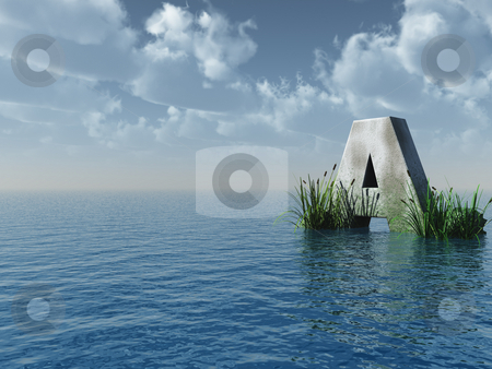 Letter A at the ocean stock photo, Letter A rock in water landscape - 3d illustration by J?
