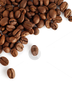 Coffee beans two stock photo, An arrangement of coffee beans on a white background by Paul Turner