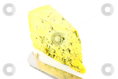 Blue Cheese and Cheese Knife stock photo, Slice of blue cheese and knife with clipping path on a white background by Keith Wilson