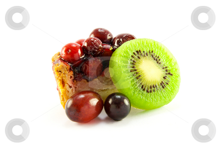 Pork Pie with Kiwi and Grapes stock photo, Slice of pork pie with kiwi and grapes with clipping path on a white background by Keith Wilson