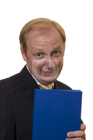 Businesman with notepad stock photo, Businesman holding a notepad on white background by Roman Kalashnikov
