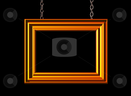 Deco stock photo, Blank golden picture frame on black background  -3d illustration by J?