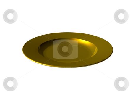 Golden meal stock photo, Golden dinner plate on white background - 3d illustration by J?