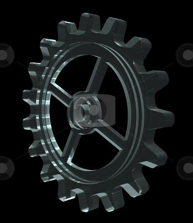 Gear stock photo, Glass gear wheel on black background - 3d illustration by J?