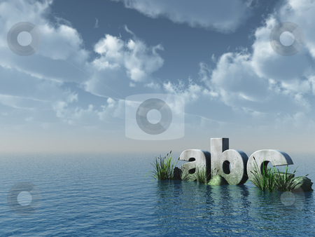 Abc stock photo, Letters abc rock at the ocean - 3d illustration by J?