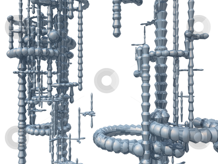 Tech thing stock photo, Metal construction on white background - 3d illustration by J?