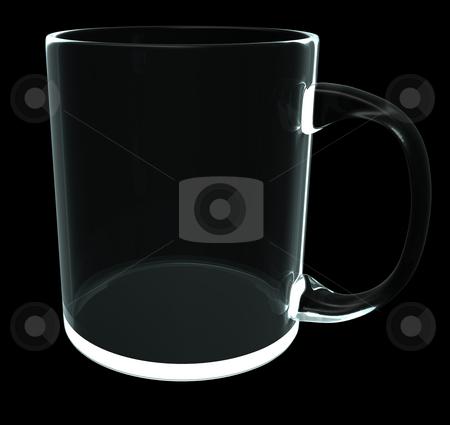Glass mug stock photo, Glass mug on black background - 3d illustration by J?