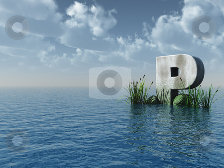 Letter P stock photo, Letter P rock in water landscape - 3d illustration by J?