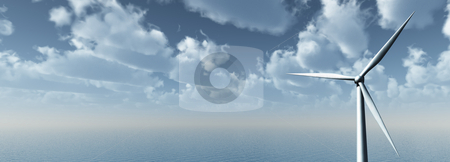 Windpower stock photo, Windmill at the ocean - banner - 3d illustration by J?