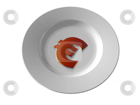 Euro stock photo, White dinner plate and euro sign - 3d illustration by J?