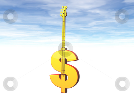 Musicbusiness stock photo, Dollar bass guitar in front of blue cloudy sky - 3d illustration by J?