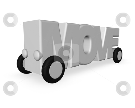 Move stock photo, The word move with wheels on white background - 3d illustration by J?