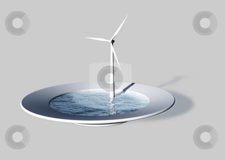 Wind power stock photo, White dinner plate filled with water and a windmill - 3d illustration by J?
