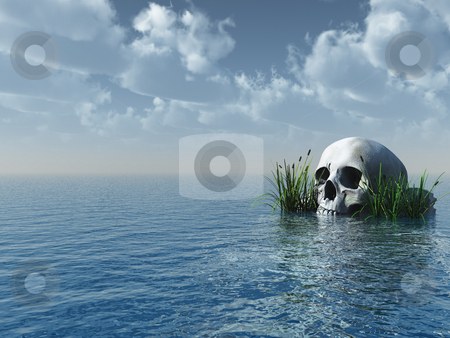 Skull stock photo, Stone skull at the ocean - 3d illustration by J?