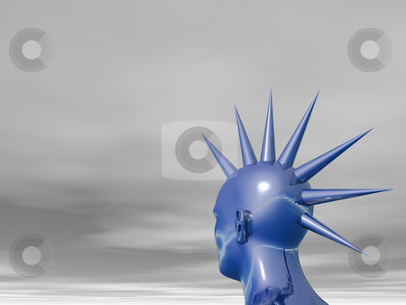 Blue mohawk stock photo, Blue head with thorns - 3d illustration by J?