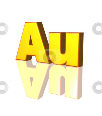 Au - gold stock photo, The chemical symbol for gold - 3d illustration by J?