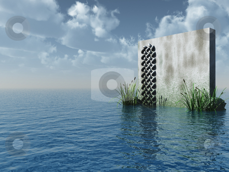 Stone board stock photo, Stone board at the ocean - 3d illustration by J?