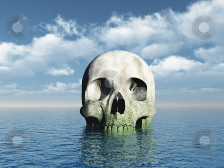 Skull stock photo, Skull rock at the ocean - 3d illustration by J?