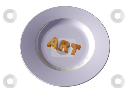 Cook art stock photo, The word art on plate - 3d illustration by J?