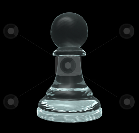 Pawn stock photo, Glass chess pawn on black background - 3d illustration by J?