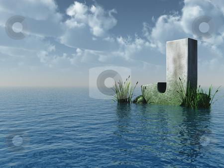 Letter J stock photo, Letter J rock in water landscape - 3d illustration by J?