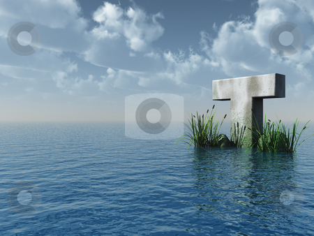 Letter T stock photo, Letter T rock in water landscape - 3d illustration by J?