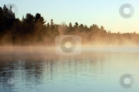 Sunrise stock photo, Sunrise and mist in beautiful lake in Algonquin Park by Pavel Cheiko
